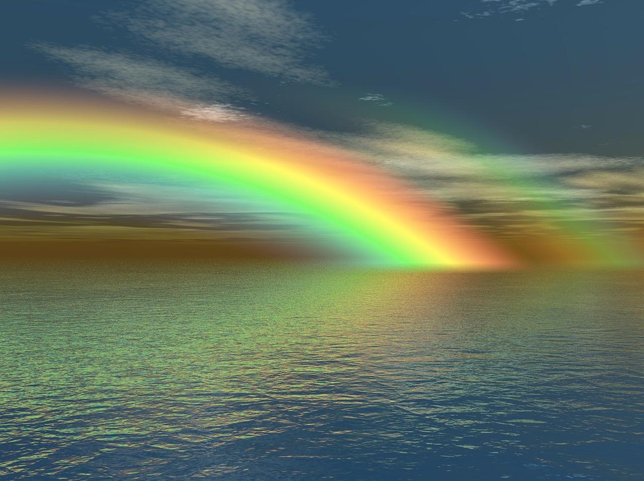 arc en ciel sur l'eau